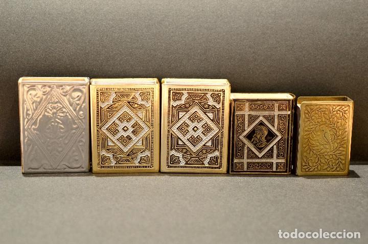 Cajas de Cerillas: LOTE COLECCION DE 5 CERILLEROS FUNDA CERILLERO PORTA CAJA CERILLAS BRONCE Y LATÓN - Foto 3 - 59833164