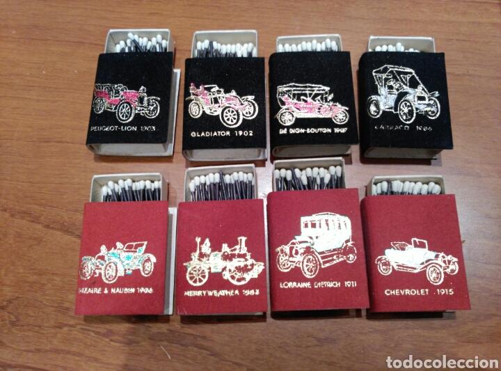 Cajas de Cerillas: Estuche de 8 cajas de cerillas aterciopeladas. Motivos coches antiguos. - Foto 2 - 119378923
