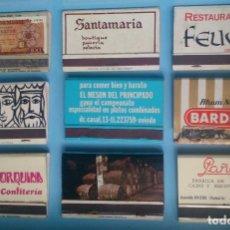 Cajas de Cerillas: LOTE 9 CAJAS DE CERILLAS VINTAGE RESTAURANTE FEUDAL. Lote 121233455