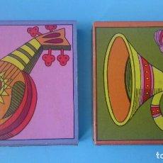 Cajas de Cerillas: 2 CAJAS DE CERILLAS VINTAGE COLECCIÓN INSTRUMENTOS MUSICALES . Lote 121239727