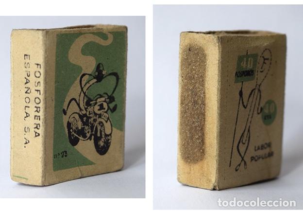 Cajas de Cerillas: Caja de cerillas Labor popular nº 23 Motorista (vacía) - Foto 3 - 121241659