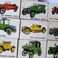 Cajas de Cerillas: 10 CAJAS CRUZ NOVILLO: DAIMLER, SIZAIRE & NAUDIN, MERCEDES, ROLLS ROYCE, HISPANO SUIZA, DELAGE, CITR. Lote 228495370