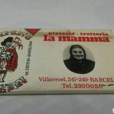 Cajas de Cerillas: ANTIGUA CAJA CERILLAS FELIZ NAVIDAD 1972 PIZZERIA LA MAMMA BARCELONA. Lote 127645310