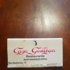 Cajas de Cerillas: CARTERITA DE CERILLAS - RESTAURANTE, BAR-MARISQUERÍA CASA GALLEGA, MADRID - FOSFORERA ESPAÑOLA. Lote 127962779