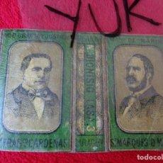 Cajas de Cerillas: ENVOLTORIO DE CAJA CERILLAS - DIONISIO LASA - CARLISMO - CARLISTA MARQUES DE MOLINS... SOBRE 1870. Lote 128371835