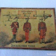 Cajas de Cerillas: SIGLO XIX - CAJA DE CERILLAS SUELTA - ORDENANZA MILITAR -SEA IGUAL PARA TODOS. Lote 128374115