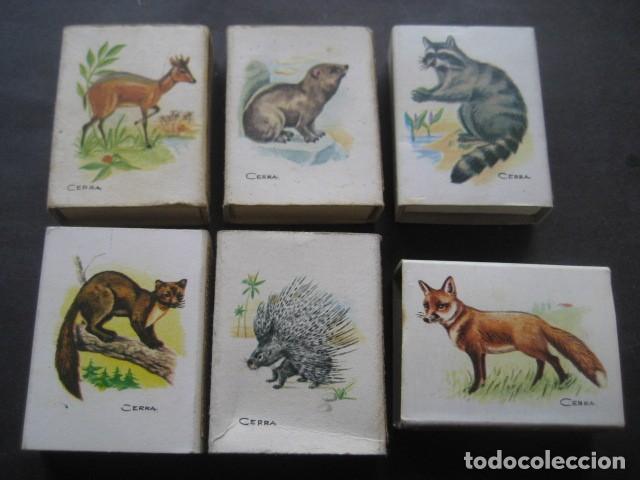 6 CAJAS DE CERILLAS CAZA MENOR. FOSFORERA ESPAÑOLA S.A. (Coleccionismo - Objetos para Fumar - Cajas de Cerillas)