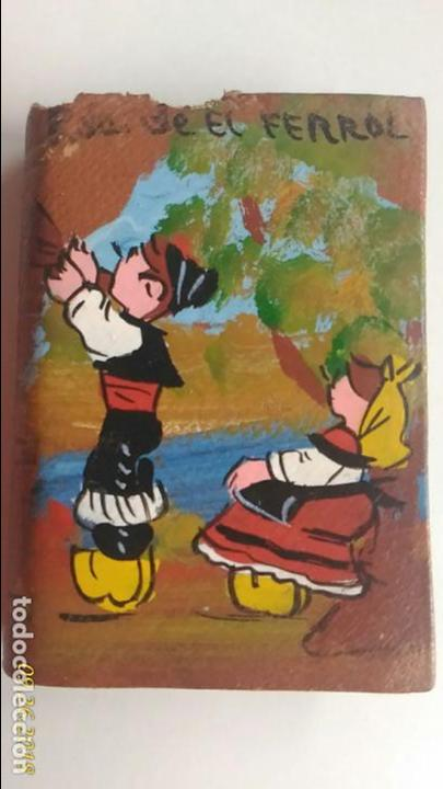 Cajas de Cerillas: Caja de cerillas doble. Recuerdo del Ferrol. Niños con trajes típicos. - Foto 3 - 134720270