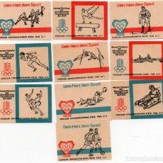 Cajas de Cerillas: TAPAS DE CAJAS DE CERILLAS, SERIE DEPORTES, 10 UNIDADES COMPLETA. Lote 135136494