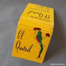 Cajas de Cerillas: SNACK BAR EL QUETZAL CALLE MAYOR SALOU CAJA DE CERILLAS . Lote 135291062