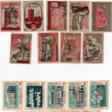 Cajas de Cerillas: TAPAS CAJAS DE CERILLAS, 2 SERIES COMPLETAS, 18 UNIDADES. Lote 135343942