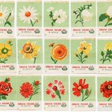 Cajas de Cerillas: TAPAS CAJAS DE CERILLAS, FLORES SERIE COMPLETA 15 UNIDADES. Lote 135391590