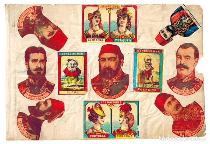 LÁMINA CAJAS DE CERILLAS LAS NACIONES BAÑOS DE MAR LIZARBE CUESTIÓN DE ORIENTE SIGLO XIX (Coleccionismo - Objetos para Fumar - Cajas de Cerillas)