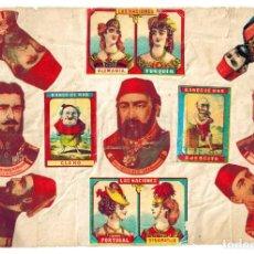 Cajas de Cerillas: LÁMINA CAJAS DE CERILLAS LAS NACIONES BAÑOS DE MAR LIZARBE CUESTIÓN DE ORIENTE SIGLO XIX. Lote 138149978