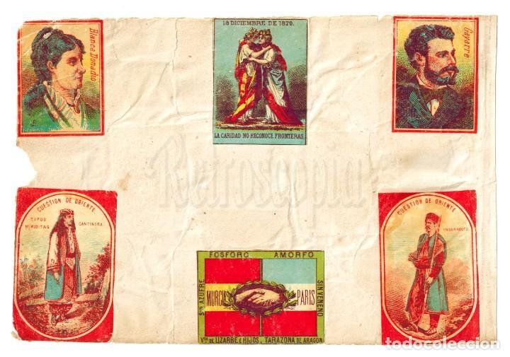 Cajas de Cerillas: LÁMINA CAJAS DE CERILLAS LAS NACIONES BAÑOS DE MAR LIZARBE CUESTIÓN DE ORIENTE SIGLO XIX - Foto 2 - 138149978