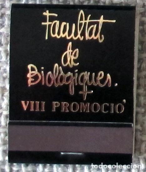 CAJA DE CERILLAS TIPO CARTERILLA FACULTAT DE BIOLOGIQUES (VALENCIA), SIN USAR (Coleccionismo - Objetos para Fumar - Cajas de Cerillas)