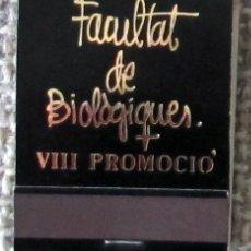 Cajas de Cerillas: CAJA DE CERILLAS TIPO CARTERILLA FACULTAT DE BIOLOGIQUES (VALENCIA), SIN USAR. Lote 140317338