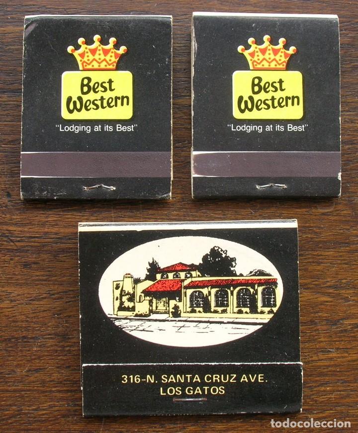 CARTERAS CERILLAS: BEST WESTERN (GALAXY MOTEL) Y LOS GATOS (PEDRO´S COMIDA MEXICANA) CALIFORNIA (Coleccionismo - Objetos para Fumar - Cajas de Cerillas)