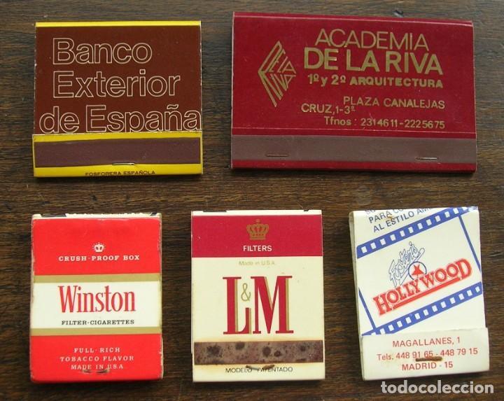 CARTERAS CERILLAS: BANCO EXTERIOR ESPAÑA, WINSTON, L&M, HOLLYWOOD Y ACADEMIA DE LA RIVA (Coleccionismo - Objetos para Fumar - Cajas de Cerillas)