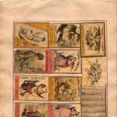 Cajas de Cerillas: LÁMINA CON CAJAS DE CERILLAS SIGLO XIX. Lote 148480086