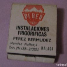 Cajas de Cerillas: CERILLAS PEBER. PEREZ BERMUDEZ. MÁLAGA. . Lote 150498318