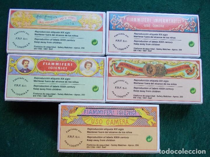 Cajas de Cerillas: Lote 5 cajas de cerillas fosforos reprodución etiqueta siglo XIX bien conservadas - Foto 2 - 151354026
