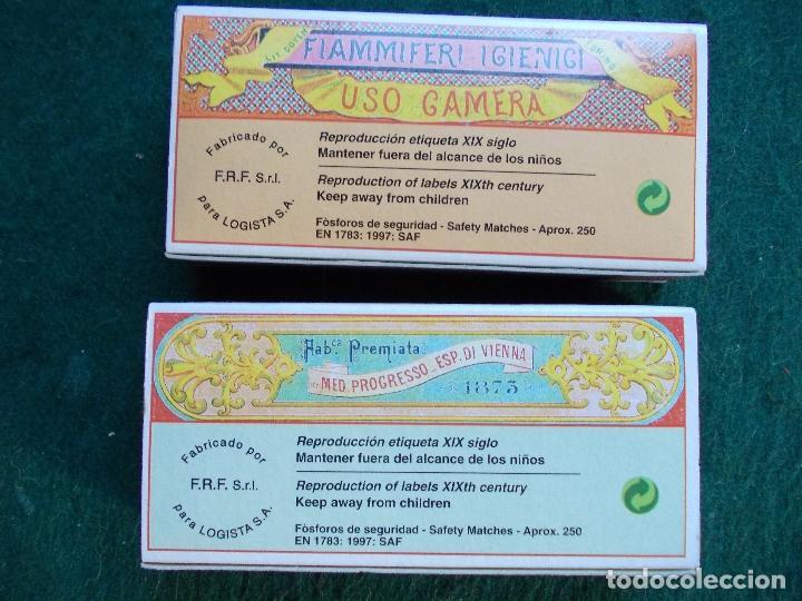 Cajas de Cerillas: Lote 2 cajas de cerillas fosforos reprodución etiqueta siglo XIX bien conservadas - Foto 2 - 151354522