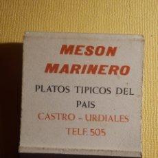 Cajas de Cerillas: CAJA PUBLICITARIA DE CERILLAS - MESÓN MARINERO - CASTRO URDIALES - COMPLETA. Lote 151416009