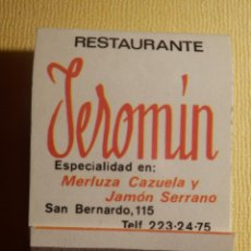 Cajas de Cerillas: CAJA PUBLICITARIA DE CERILLAS - RESTAURANTE JEROMIN - SAN BERNARDO 115, MADRID - COMPLETA. Lote 151421026