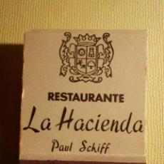 Cajas de Cerillas: CAJA PUBLICITARIA DE CERILLAS - RESTAURANTE LA HACIENDA - MARBELLA - MÁLAGA - PAUL SCHIFF - COMPLETA. Lote 151421474