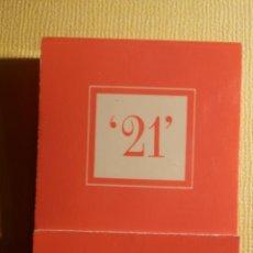 Cajas de Cerillas: CAJA DE CERILLAS - THE 21 CLUB - 21 WEST 52 STREET NEW YORK - COMPLETA. Lote 151463638