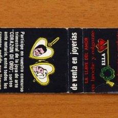 Cajas de Cerillas: TALLERES ARCA, BARCELONA, LA LLAVE DEL AMOR, VENTA EN JOYERÍAS - CARTERITA DE CERILLAS -G. FOSFORERA. Lote 153322470