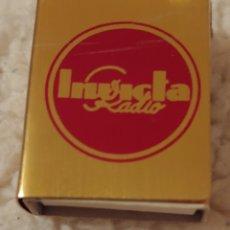 Cajas de Cerillas: ANTIGUO ESTUCHE METAL PARA CAJA DE CERILLAS, PUBLICIDAD INVICTA RADIO. Lote 153877442
