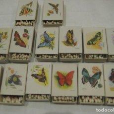 Cajas de Cerillas: 14 CAJAS DE CERILLAS, SERIE MARIPOSAS, FOSFORERA ESPAÑOLA, AÑOS 60. Lote 154346570
