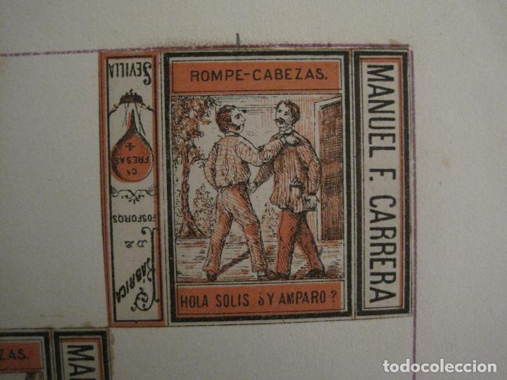 Cajas de Cerillas: CAJAS DE CERILLAS PEGADAS A HOJA-ESPAÑA-M.F. CABRERA SEVILLA & LIZARBE TARAZONA-VER FOTOS-(CARPB-57) - Foto 4 - 155667406