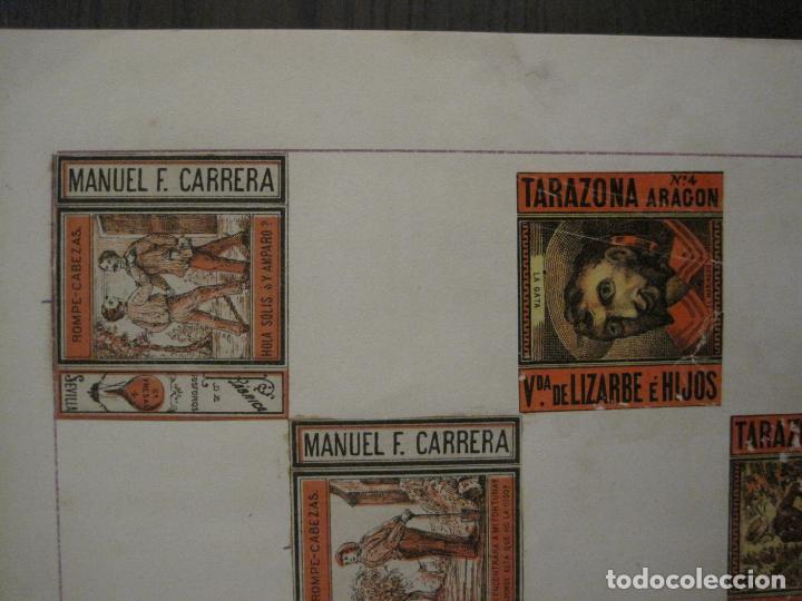 Cajas de Cerillas: CAJAS DE CERILLAS PEGADAS A HOJA-ESPAÑA-M.F. CABRERA SEVILLA & LIZARBE TARAZONA-VER FOTOS-(CARPB-57) - Foto 14 - 155667406