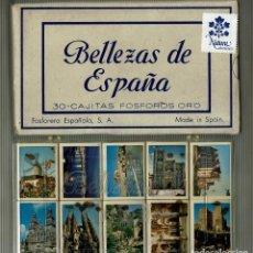 Cajas de Cerillas: BELLEZAS DE ESPAÑA / COLECCIÓN COMPLETA 30 CAJITAS FÓSFOROS ORO. Lote 155685690