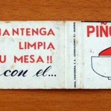Cajas de Cerillas: MANTENGA LIMPIA SU MESA CON EL PIÑOLERO - CARTERÍTA DE CERILLAS - GENERAL FOSFORERA . Lote 156178014