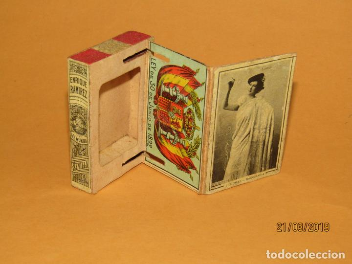 ANTIGÜA CAJA CERILLAS SIGLO XIX. ENRIQUE RAMÍREZ SEVILLA GREMIO DE FABRICANTES DE FOSFOROS DE ESPAÑA (Coleccionismo - Objetos para Fumar - Cajas de Cerillas)