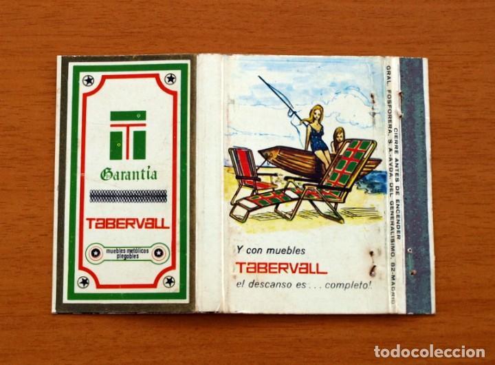 GARANTÍA TABERVALL, MUEBLES METÁLICOS PLEGABLES - CARTERÍTA DE CERILLAS - GENERAL FOSFORERAS (Coleccionismo - Objetos para Fumar - Cajas de Cerillas)