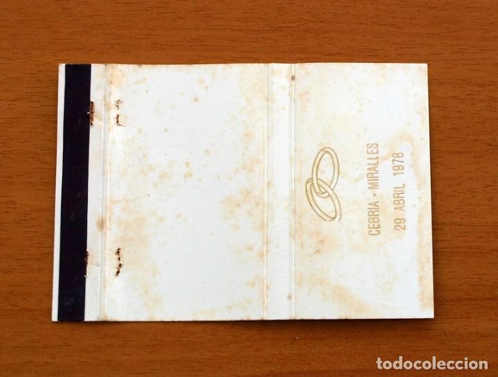 BODA, ENLACE DE CEBRIA Y MIRALLES, 29-04-1978 - CARTERÍTA DE CERILLAS - GENERAL FOSFORERAS (Coleccionismo - Objetos para Fumar - Cajas de Cerillas)