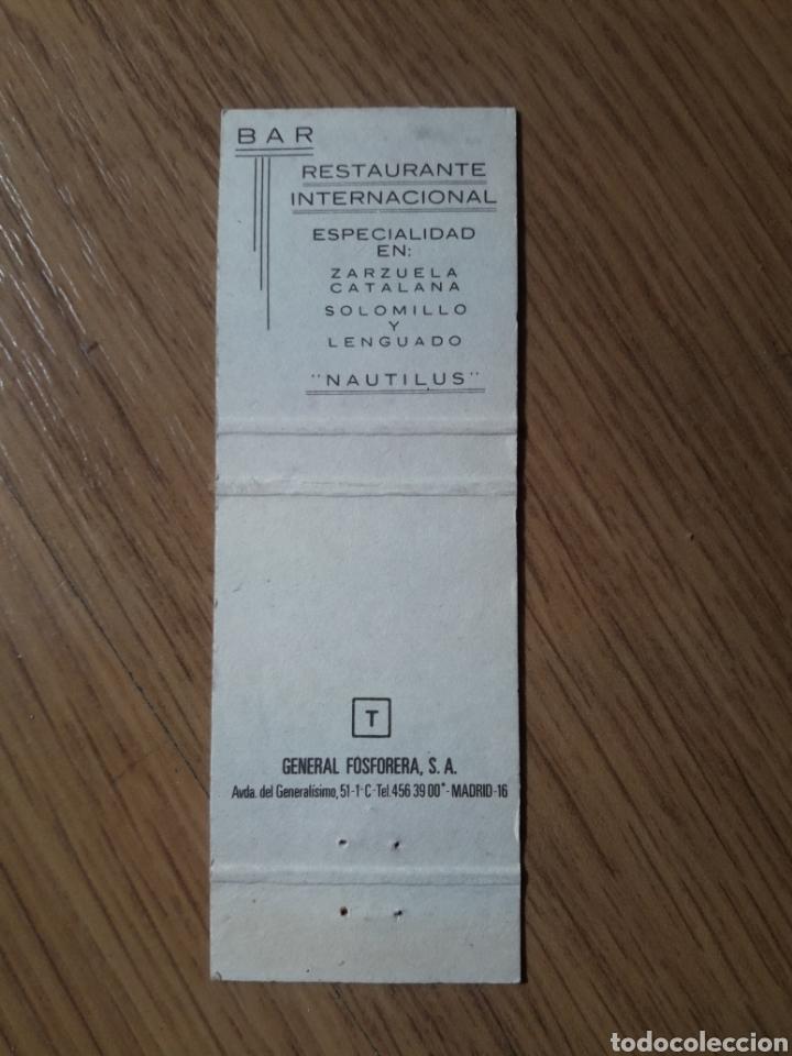 Cajas de Cerillas: CARTERITA CERILLAS - BAR RESTAURANTE LA FRAGUA PLAYA - RESTAURANTE NAUTILUS (MALAGA) - Foto 3 - 156835153