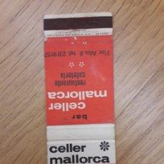 Cajas de Cerillas - CARTERITA CERILLAS - BAR RESTAURANTE CELLER MALLORCA - 158719686