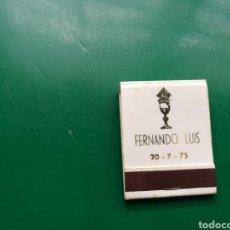 Cajas de Cerillas: ANTIGUA CAJA DE CERILLAS. BAUTIZO FERNANDO LUIS. 20-7-1965. ZONA DE ASTURIAS. Lote 158797226