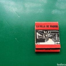 Cajas de Cerillas: ANTIGUA CAJA DE CERILLAS. RESTAURANTE LA VILLA DE MADRID. TORRELAVEGA (CANTABRIA). Lote 158797422