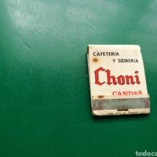 Cajas de Cerillas: ANTIGUA CAJA DE CERILLAS CAFETERÍA Y SIDRERÍA CHONI . CANDAS ( ASTURIAS). Lote 158820266