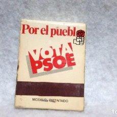 Cajas de Cerillas: ESTUCHE DE CERILLAS AÑOS 80 (TRANSICIÓN ESPAÑOLA) - PSOE ... ESTUCHE CERRADO.. Lote 160373426