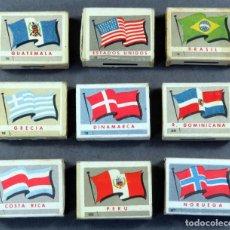 Cajas de Cerillas: 9 CAJAS CERILLAS BANDERAS PAÍSES Y MONUMENTOS FOSFORERA ESPAÑOLA AÑOS 60. Lote 162729894
