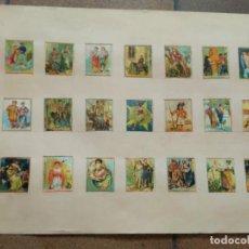 Cajas de Cerillas: HOJA CON 21 CROMOS EN CROMOLITOGRAFÍA SIGLO XIX , ALGUNOS DE ELLOS ITALIANOS CERILLAS. Lote 162778522