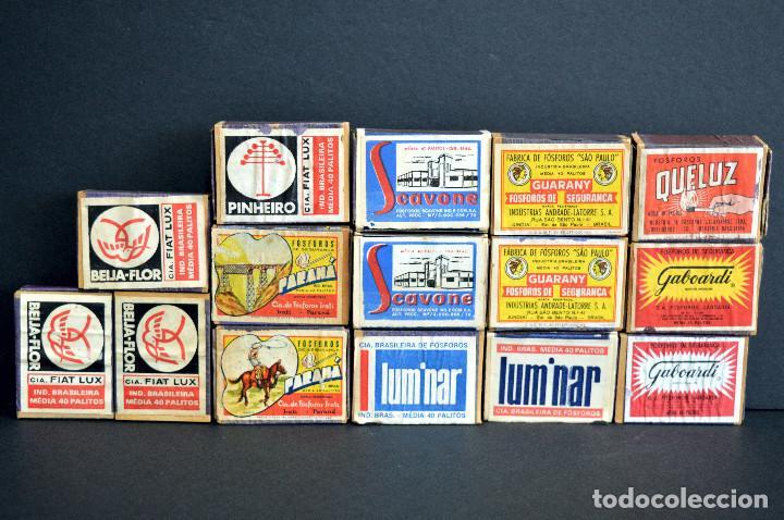 Cajas de Cerillas: LOTE 15 ANTIGUAS CAJAS DE CERILLAS BRASIL COMPLETAS - Foto 2 - 163606846